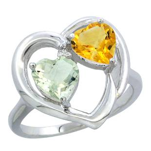 2.61 CTW Diamond, Amethyst & Citrine Ring 14K White