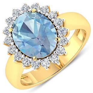 Natural 3.24 CTW Aquamarine & Diamond Ring 14K Yellow