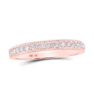 Round Diamond Single Row Band Ring 1/4 Cttw 14KT Rose