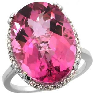 13.71 CTW Pink Topaz & Diamond Ring 10K White Gold -