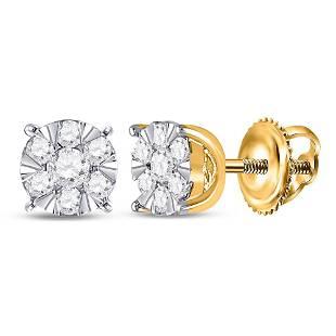 Round Diamond Flower Cluster Earrings 1/4 Cttw 14KT