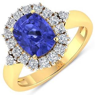 Natural 2.64 CTW Tanzanite & Diamond Ring 14K Yellow