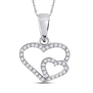 Round Diamond Double Heart Pendant 1/10 Cttw 10KT White