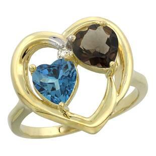 2.61 CTW Diamond, London Blue Topaz & Quartz Ring 10K