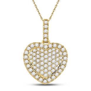 Round Diamond Heart Pendant 1/2 Cttw 14KT Yellow Gold
