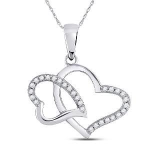 Round Diamond Double Heart Pendant 1/6 Cttw 10KT White
