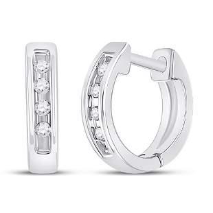 Round Diamond Single Row Huggie Earrings 1/20 Cttw 10KT