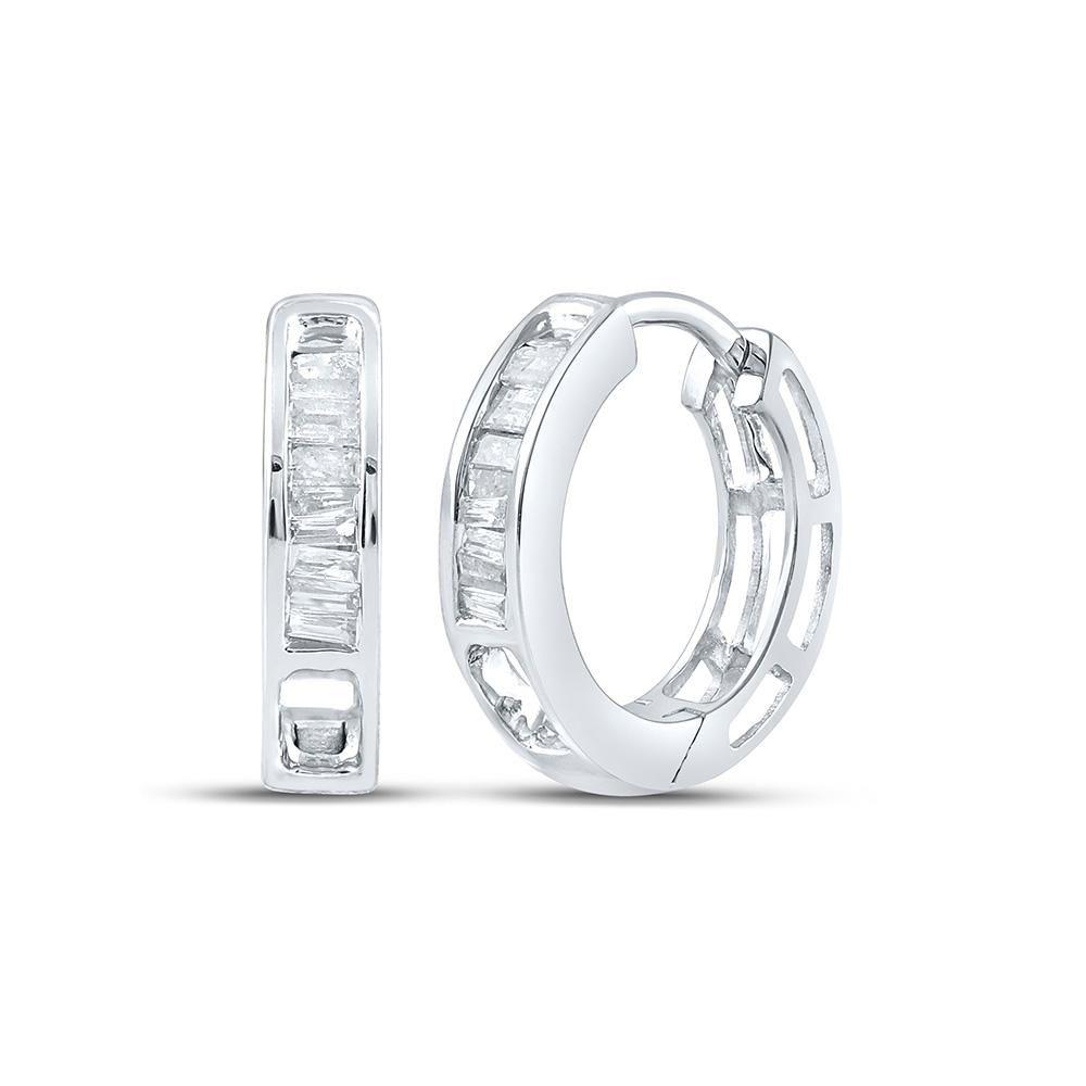 Baguette Diamond Huggie Hoop Earrings 1/6 Cttw 10KT