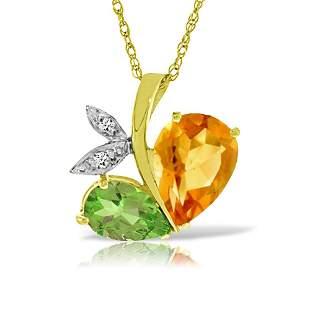 Genuine 4.06 ctw Citrine, Peridot & Diamond Necklace