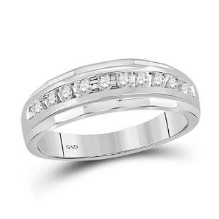 Round Diamond Wedding Band Ring 1/4 Cttw 10KT White
