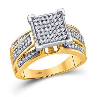 Round Diamond Square Cluster Ring 1/3 Cttw 10KT Yellow