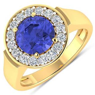 Natural 2.58 CTW Tanzanite & Diamond Ring 14K Yellow