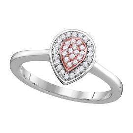 Round Diamond Teardrop Cluster Ring 1/12 Cttw 14KT
