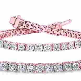 Natural 7ct VS2-SI1 Diamond Tennis Bracelet 18K Rose