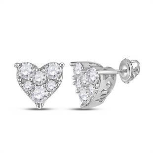 Round Diamond Heart Cluster Stud Earrings 1/3 Cttw 10KT