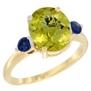 2.64 CTW Lemon Quartz & Blue Sapphire Ring 10K Yellow