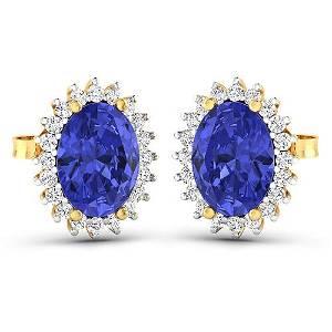 Natural 2.56 CTW Tanzanite & Diamond Earrings 14K