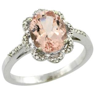 1.89 CTW Morganite & Diamond Ring 14K White Gold -