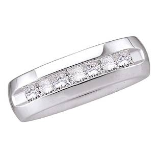 Princess Diamond Wedding Single Row Band Ring 1/2 Cttw