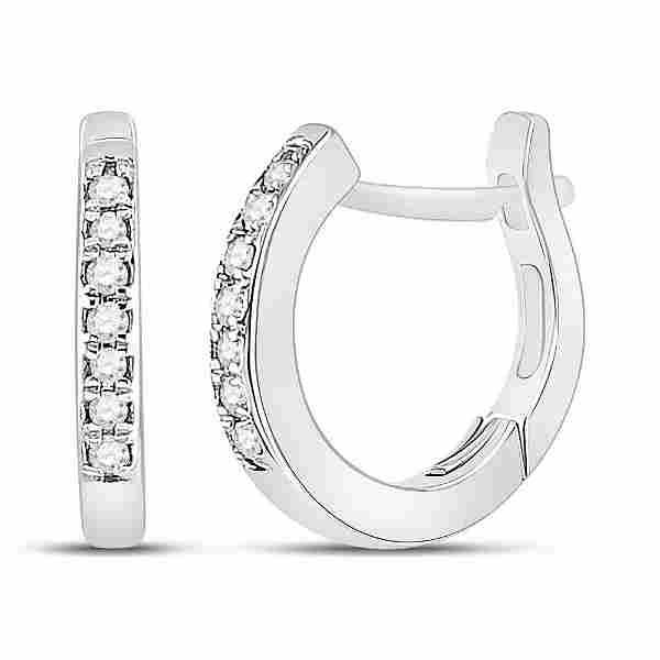 Round Diamond Huggie Hoop Earrings 1/20 Cttw 10KT White