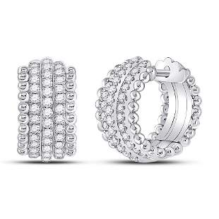 Round Diamond Huggie Earrings 3/4 Cttw 14KT White Gold