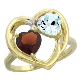 2.61 CTW Diamond, Garnet & Aquamarine Ring 14K Yellow