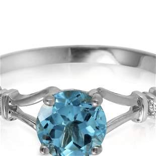 Genuine 1.02 ctw Blue Topaz & Diamond Ring 14KT White