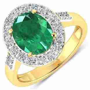 Natural 2.75 CTW Zambian Emerald & Diamond Ring 14K