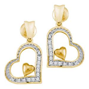 Diamond Heart Dangle Stud Earrings 1/10 Cttw 10KT