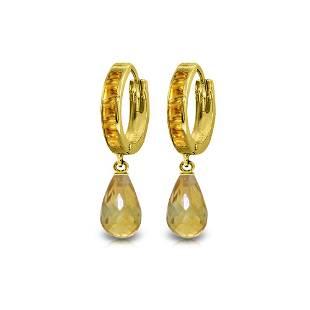 Genuine 5.35 ctw Citrine Earrings 14KT Yellow Gold -