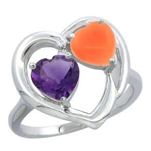 1.31 CTW Amethyst & Diamond Ring 10K White Gold -