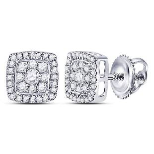 Round Diamond Square Cluster Earrings 1/3 Cttw 14KT