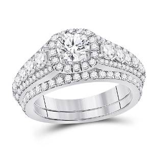 Diamond Bridal Wedding Ring Band Set 2-1/3 Cttw 14KT