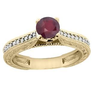 0.75 CTW Ruby & Diamond Ring 14K Yellow Gold -