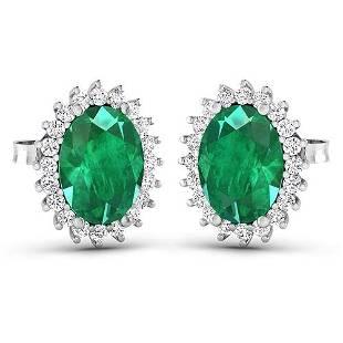 Natural 2.46 CTW Zambian Emerald & Diamond Earrings 14K