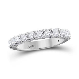 Round Pave-set Diamond Wedding Band 1 Cttw 14KT White