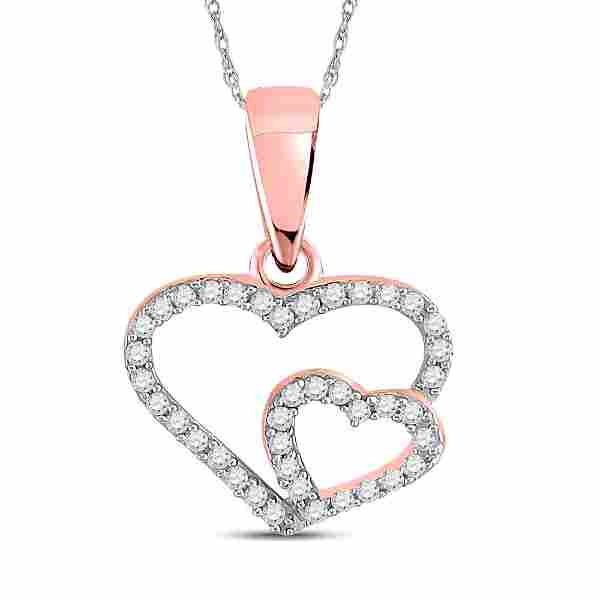 Round Diamond Double Heart Pendant 1/10 Cttw 10KT Rose