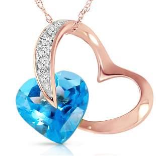 Genuine 4.6 ctw Blue Topaz & Diamond Necklace 14KT Rose