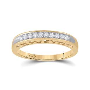 Round Diamond I Love You Band 1/5 Cttw 10KT Yellow Gold