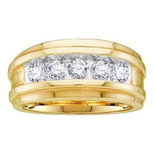 Round Diamond Wedding Channel Set Band Ring 1 Cttw 14KT