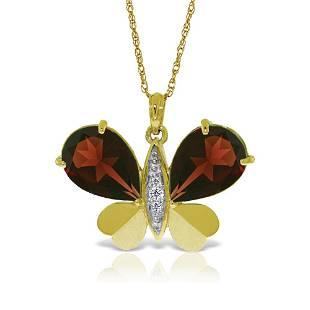 Genuine 7.1 ctw Garnet & Diamond Necklace 14KT Yellow