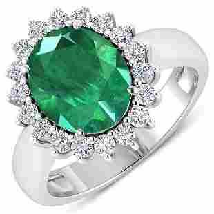 Natural 3.68 CTW Zambian Emerald & Diamond Ring 14K