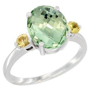 2.64 CTW Amethyst & Yellow Sapphire Ring 10K White Gold