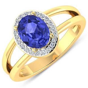 Natural 1.82 CTW Tanzanite & Diamond Ring 14K Yellow