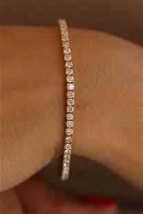 Natural 5.07 ctw Diamond Eternity Tennis Bracelet 18K