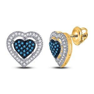 Round Blue Color Enhanced Diamond Heart Earrings 3/8