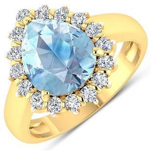 Natural 2.78 CTW Aquamarine & Diamond Ring 14K Yellow