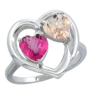 1.91 CTW Diamond, Pink Topaz & Morganite Ring 14K White
