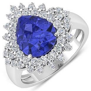Natural 4.14 CTW Tanzanite & Diamond Ring 14K White