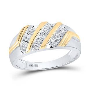 Round Diamond Wedding Band Ring 1/2 Cttw 10KT Two-tone